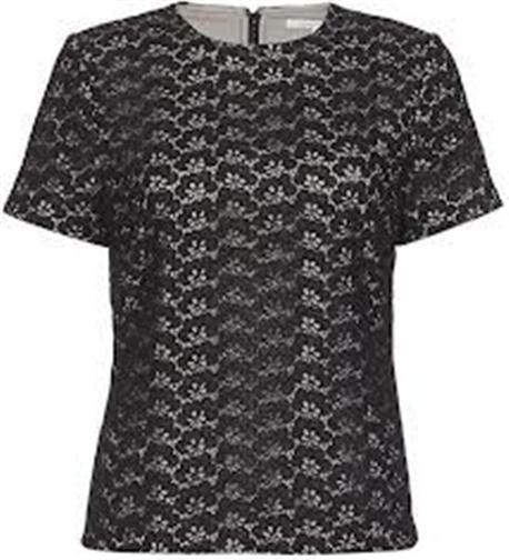 DVF Diane Von Furstenberg CINDY TOP ACORN LACE Short Sleeve Top Blouse schwarz 0