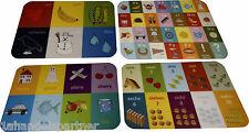 4 x Kinder Lernen Farben Zahlen ABC Englisch Lern Tischset Unterlage abwaschbar