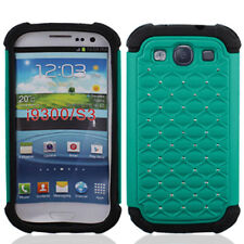 For Samsung Galaxy S III S3 HYBRID IMPACT Dazzling Diamond Case Phone Cover Teal