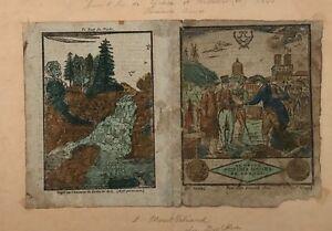 """""""le Grand Messager Boiteux De France"""" Almanach 1820 Gravure Sur Bois Correspondant En Couleur"""
