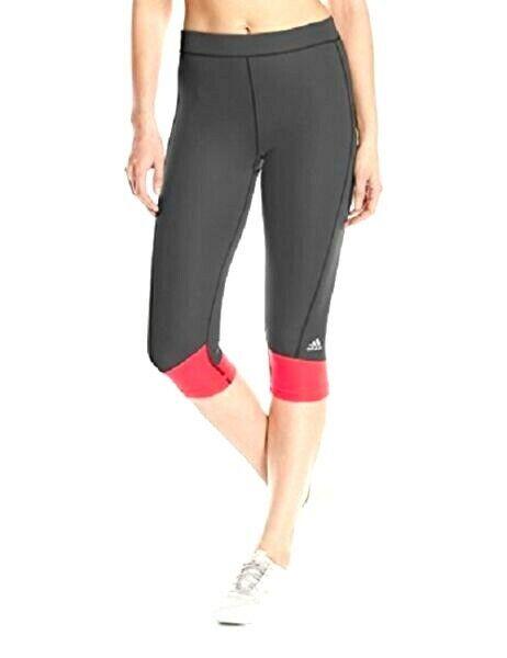bcc974f81b9b5 adidas Techfit Capri Leggings Dark Grey/shock Red Size XS for sale online |  eBay