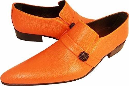 100% Chelsy-Top Modern ITALIANA DESIGNER SLIPPER arance GUSCIO Orange 39 Scarpe classiche da uomo