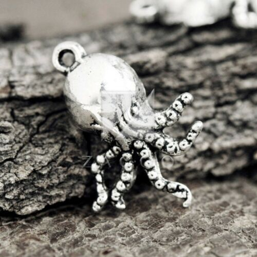 50pc Tibetan Silver Charm Spacer Pendant Jewelry Findings Octopus 20x15x5mm