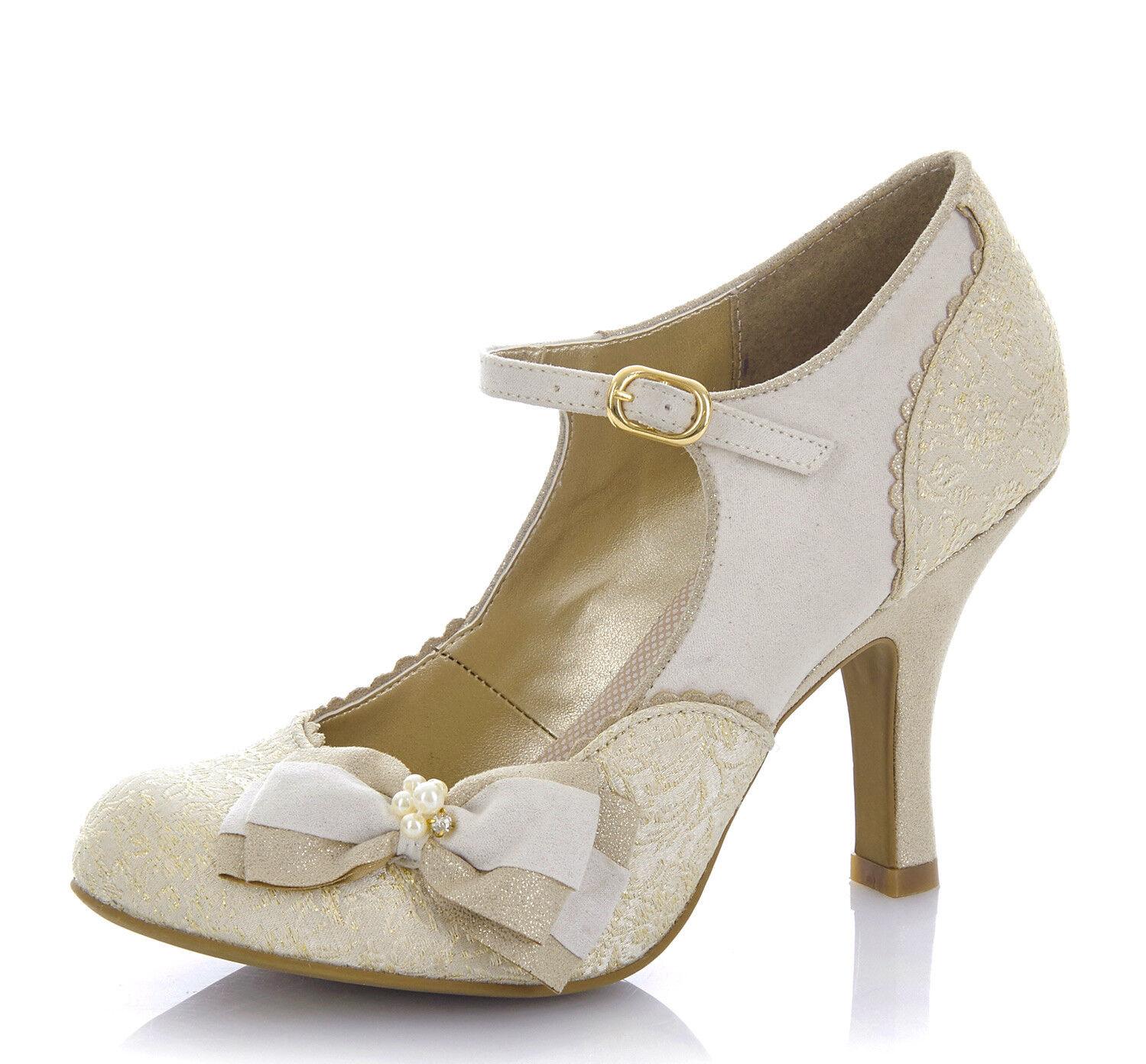 Ruby SHOO SHOO SHOO Nuevo Maria Crema oro Tacón Alto Zapatos de boda nupcial Mary Jane Talla 3-9  seguro de calidad