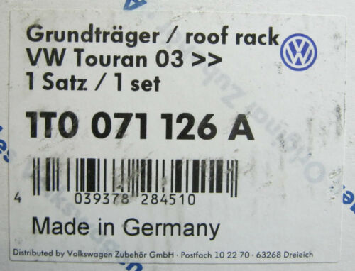 NEW GENUINE VW TOURAN ROOF BARS SET FOR MODELS WITHOUT RAILS