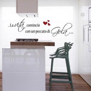 wall stickers frase cucina vita peccato di gola famiglia chef ...