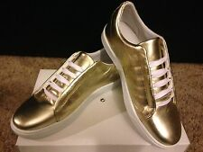 NIB WOMENS STEVE MADDEN RILA GOLD LEATHER SNEAKERS / SHOES SZ 9 - SUPER CUTE!