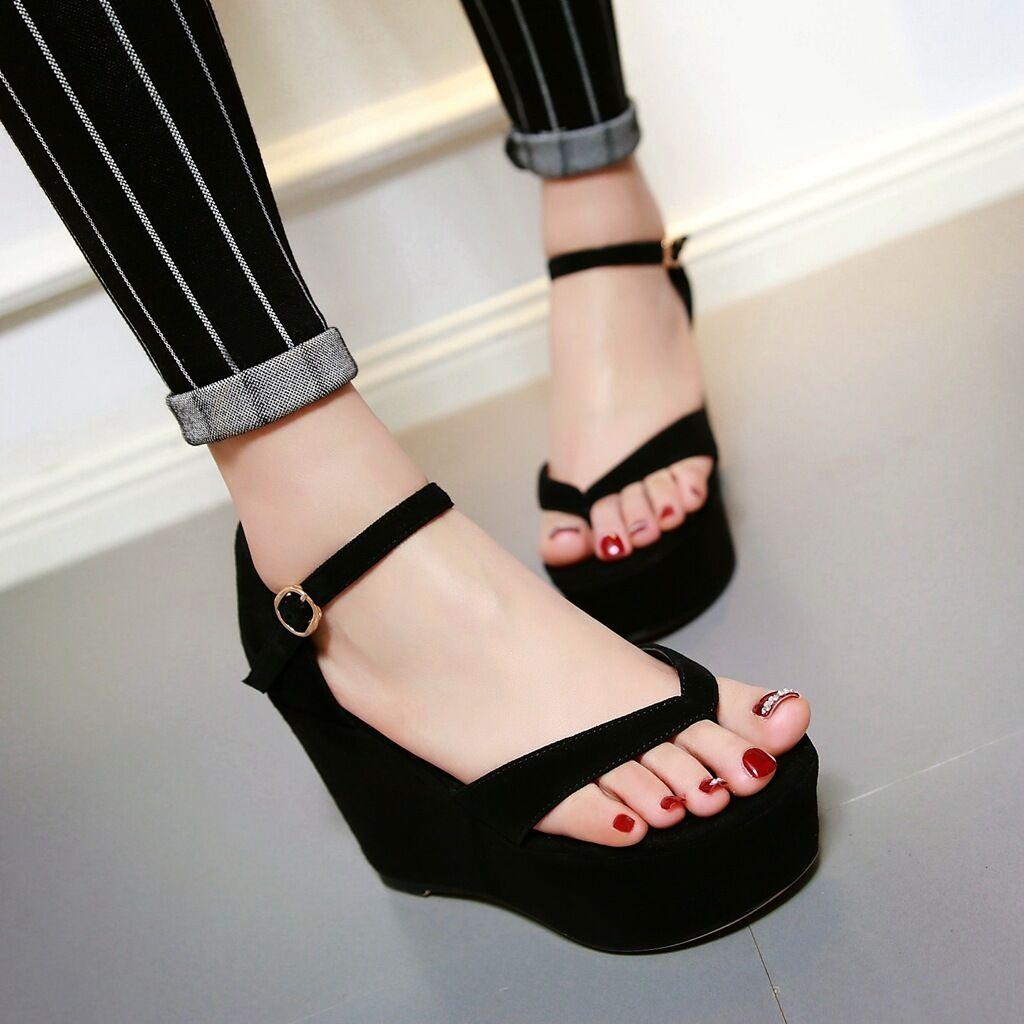 Women Flip Flop Vogue Wedge High Heels Platform Leisure Ankle Strap Shoes Sandal