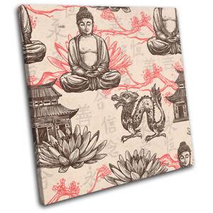Buddhism-Hamsa-Fatima-Vintage-Religion-SINGLE-CANVAS-WALL-ART-Picture-Print