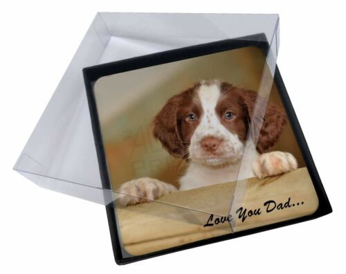 4x Springer Spaniel 'Love You Dad' Picture Table Coasters Set in Gift , DAD119C