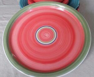 Noble-Excellence-Hacienda-Blue-Red-Orange-Yellow-Green-Dinner-Plate-Swirl-Design