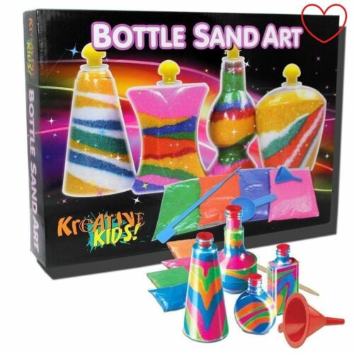 Sand Art Bottle Kids Activity DIY Party Girls Toy Game Set
