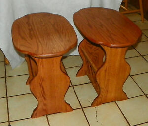 Details About Pair Of Solid Oak Oval End Tables Side With Magazine Rack T554