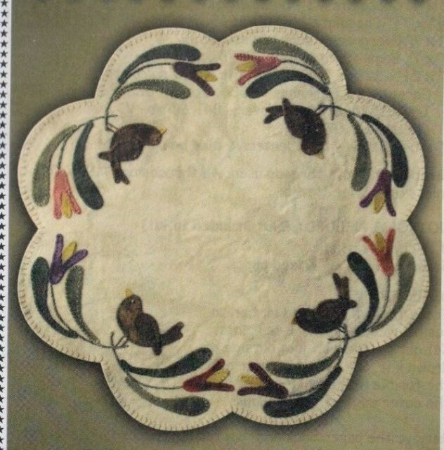 PATTERN - Birds of A Feather Table Mat - wool applique PATTERN