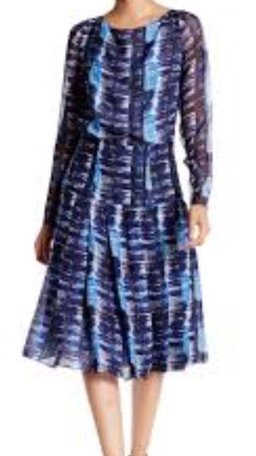 NWT Oscar Del La Renta  Bayeau Marine Silk SZ 4 Dress MSRP
