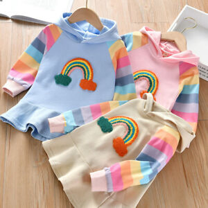 Toddler-Baby-Kids-Girls-Rainbow-Striped-Hooded-Princess-Dress-Casual-Clothes