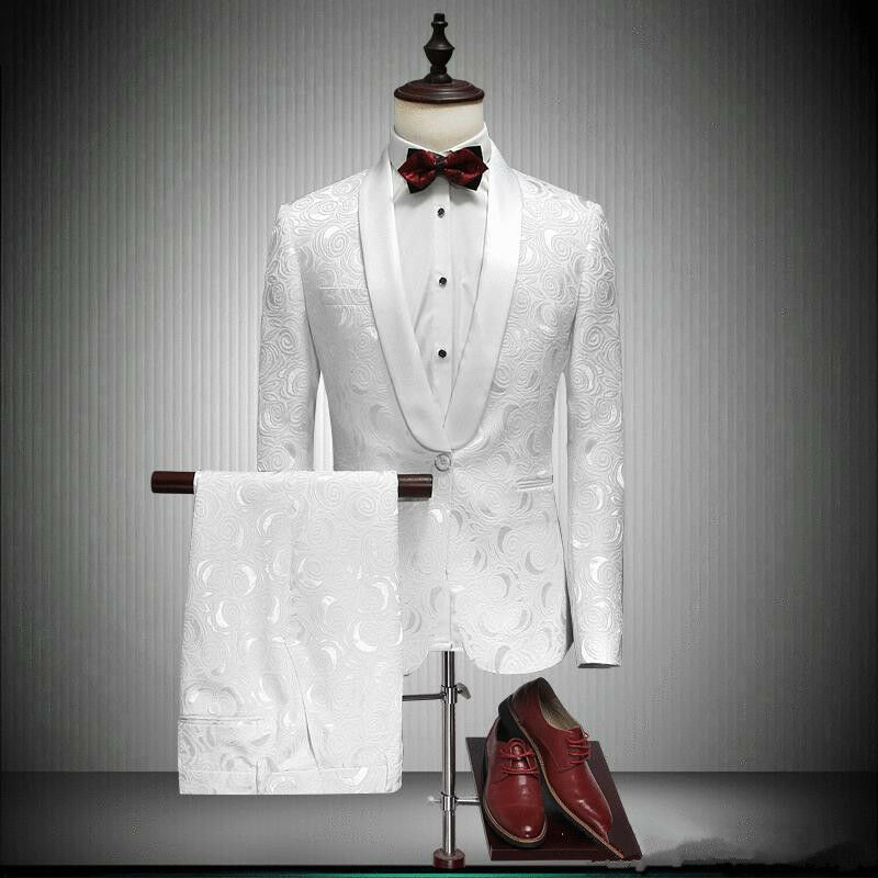 Men's Groom White Dinner Tuxedos Shawl Lapel Groomsman Prom Party Wedding Suits