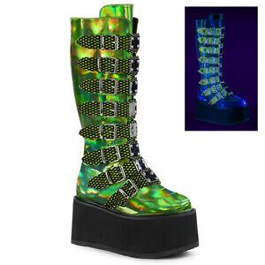 Demonia DAMNED-318 Lime Green Hologram Platform Knee High Boot 8 Buckle Straps