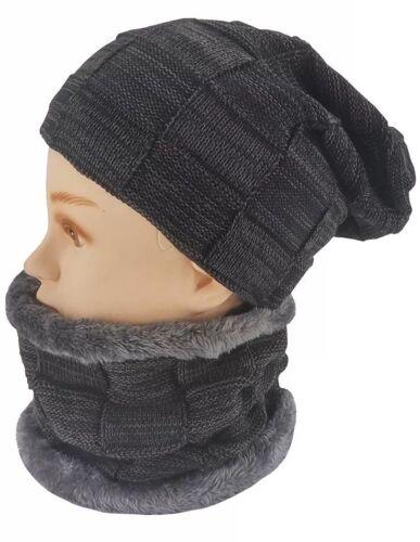 *NEW Warm Winter Slouchy Ski Cap Beanie Skull Hat /& Scarf Fleece Lined One Size