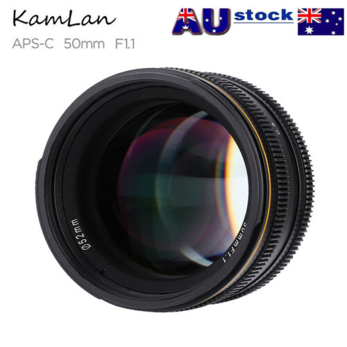Kamlan 50mm F1.1 APSC Aperture Manual Focus Lens for Fuji X M43 EOSM Cameras