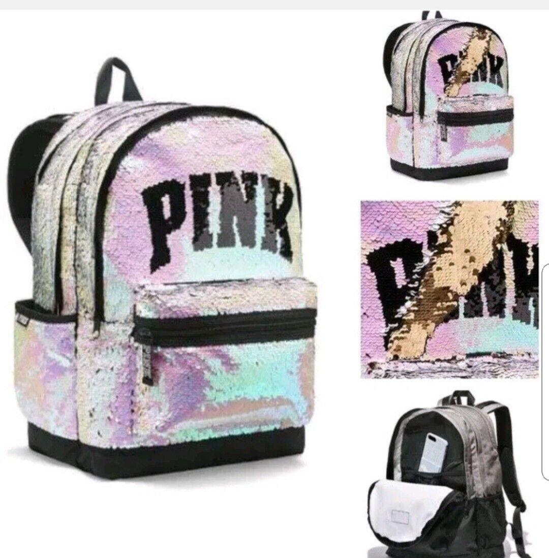 NWT Victoria Secret PINK School Campus BACKPACK Reversible SILVER BLACK SEQUIN