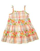 Gymboree Hula Baby Flowers N Plaid Woven Dress 6 12