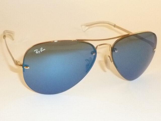 59155e6327 New RAY BAN Sunglasses Rimless AVIATOR Gold Frame RB 3449 001 55 Blue Lens  59mm