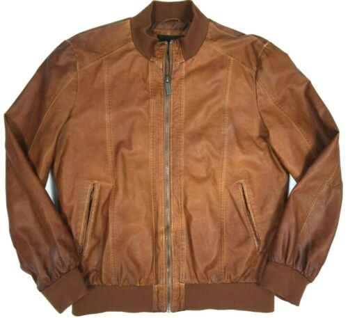 Zara Man Faux Leather Jacket Coat Brown Bomber Men