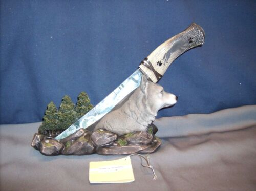 Wolf Figure With Blade  -Wolf Spirit Blade - HD44195   ABC  50% Off $9.47
