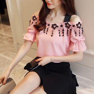 b1323309f Nuevo verano dulce rosa de gasa mujer blusa camisa de moda 2019 de ...