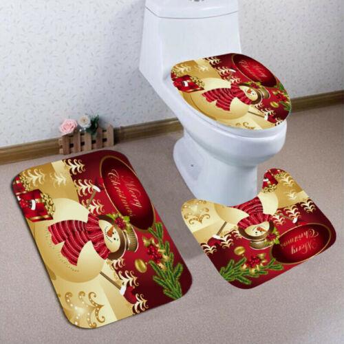 4//3 Pc Merry Christmas Shower Curtain Santa Claus Reindeer Snowman Bath Mat Rug