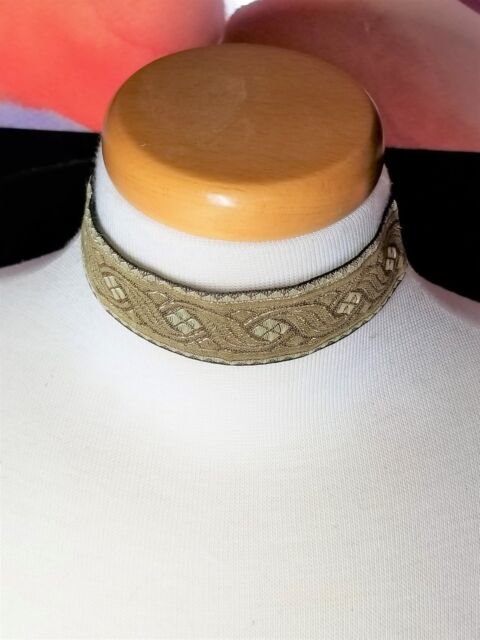 Wide Beige and Metallic Gold Ribbon Choker Vintage Necklace