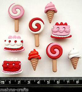 SWEET-TOOTH-Craft-Buttons-Food-Red-Cakes-Ice-Cream-Buns-Cupcakes-Valentine-Party