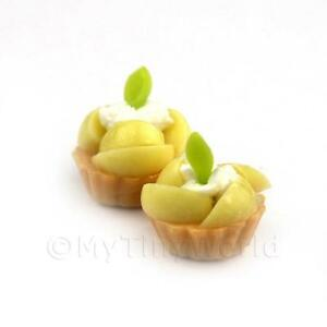 4x Dolls House Miniature Loose Handmade Poached Pear Tarts