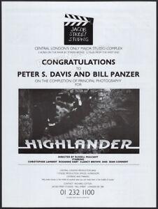 HIGHLANDER__Original 1985 Trade AD / poster__Sean Connery__Jacob Street Studios