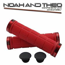 Noah And Theo Double Lock On Mountain Bike Bicycle Handlebar Grips RED RED
