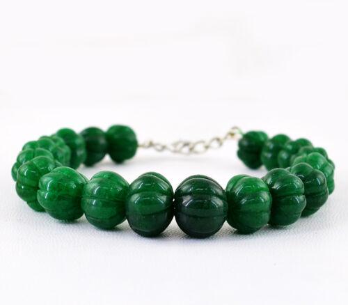 273.50 cts TERRE minées de forme ronde riche vert émeraude sculpté perles bracelet