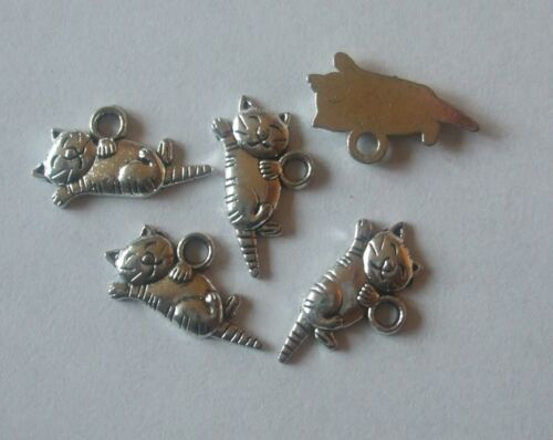 25 x Cat Kitty Charms 20x9mm Antique Silver Tone Pendants Crafts