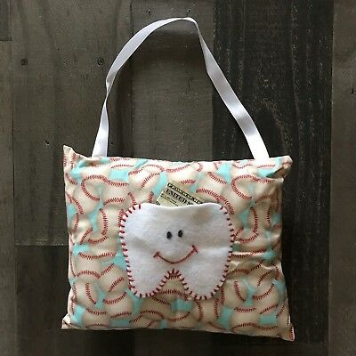 Childrens Tooth Fairy Pillow Baseball Print Red & White Little Boys Cute Pillow Careful Calculation And Strict Budgeting