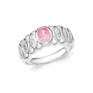.925 Sterling Silver Rose Zircone Cubique Ovale Bague-afficher Le Titre D'origine 4k52dhub-07224916-252982625