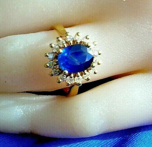 Antique Diamond Sapphire Engagement Ring Vintage D