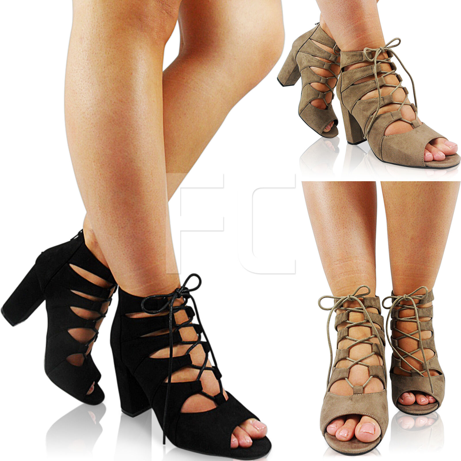 NEW WOMENS MID HIGH HEEL BLOCK LACE UP PEEP TOE CUT OUT ANKLE BOOTS SHOES SIZE