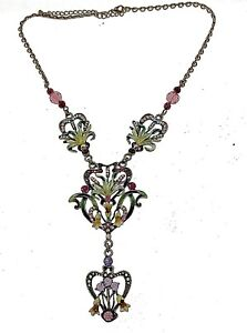 Enameled-Jewelry-7022-Vintage-Necklace-Antique-Floral-Crystal-Guilloche-039-Gem