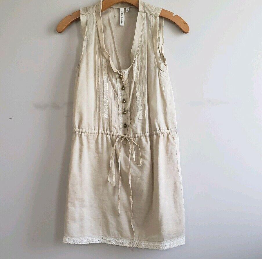 Robbi and nikki Natural Dyed Cotton Shirt Dress XS