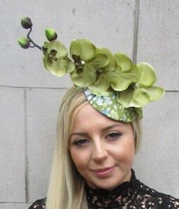 Moss Olive Light Green Orchid Flower Fascinator Races Ascot Hat Hair ... 55e76ce02ac