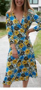 Ex WALLIS Blue Floral Wrap Dress Size 12 RRP £40