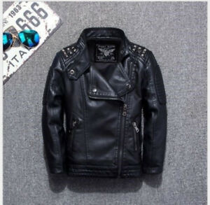 4a74c39243c3 Image is loading Boys-Leather-Jacket-Casual-Black-Solid-Children-Outerwear-