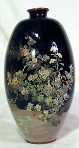 Japanese-Silver-Wire-Cloisonne-Meiji-Vase-Black-Flowers-Stream-Wireless
