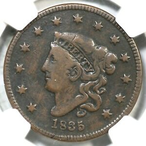 1835 Coronet Head US Large Cent Copper Coin VG Very Good