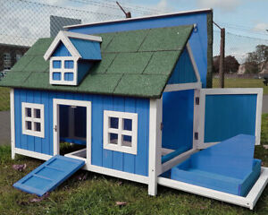 BARN CHICKEN COOP RUN  HOUSE POULTRY ARK HOME NEST BOX COOPS RABBIT HUTCH BLUE
